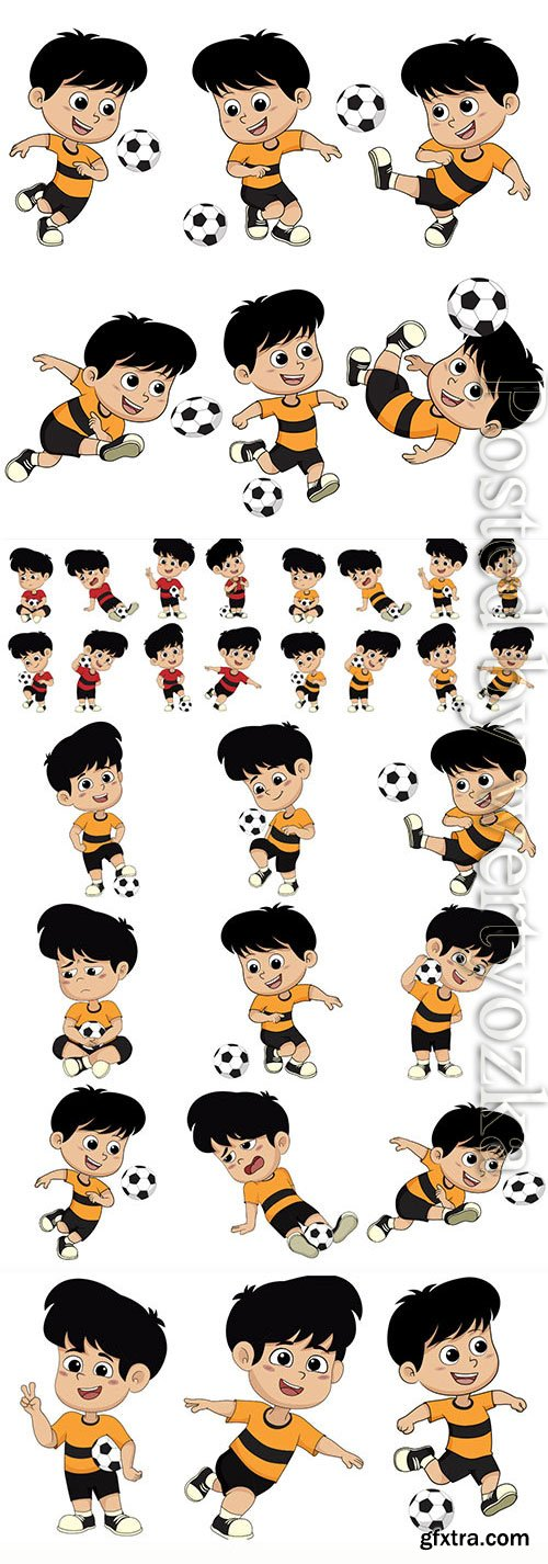 Children playing soccer in vector