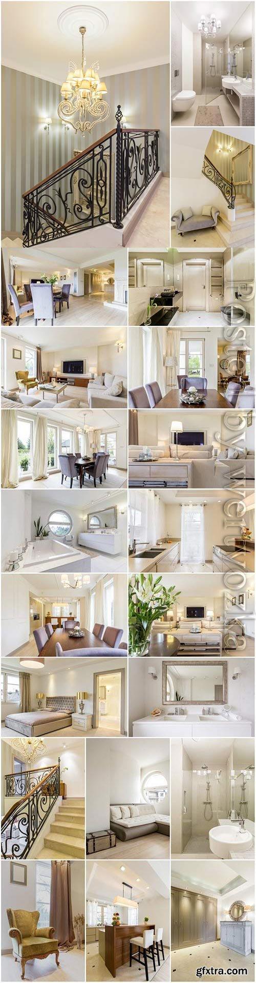 Luxury living room, bathroom and kitchen interior stock photo
