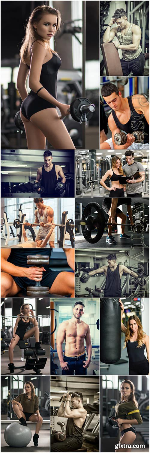 Men and girls in gym stock photo