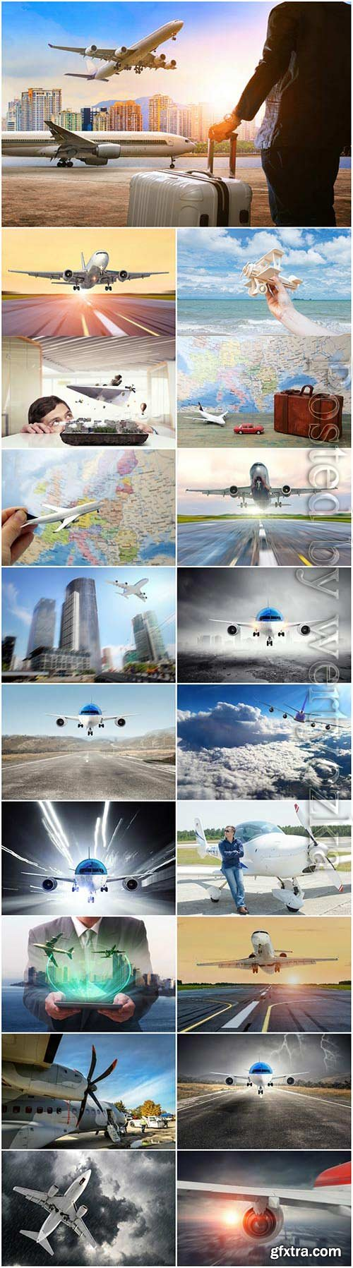Airplanes, travel and vacation concept stock photo