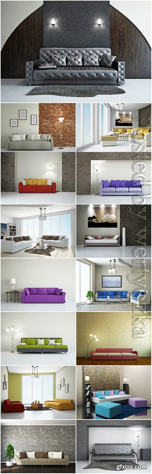 Modern sofas, interior stock photo