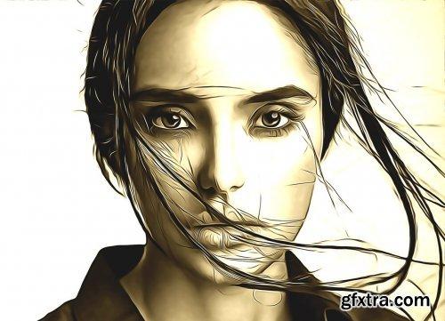 CreativeMarket - Oil Sketch Photoshop Action 5239950
