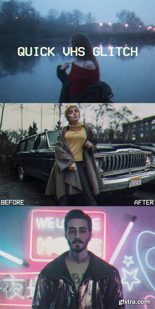 Quick VHS Glitch Effect - Photoshop Actions