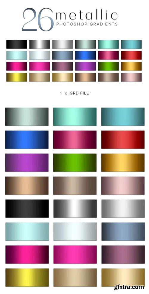 26 Colorful Metallic Gradients for Photoshop