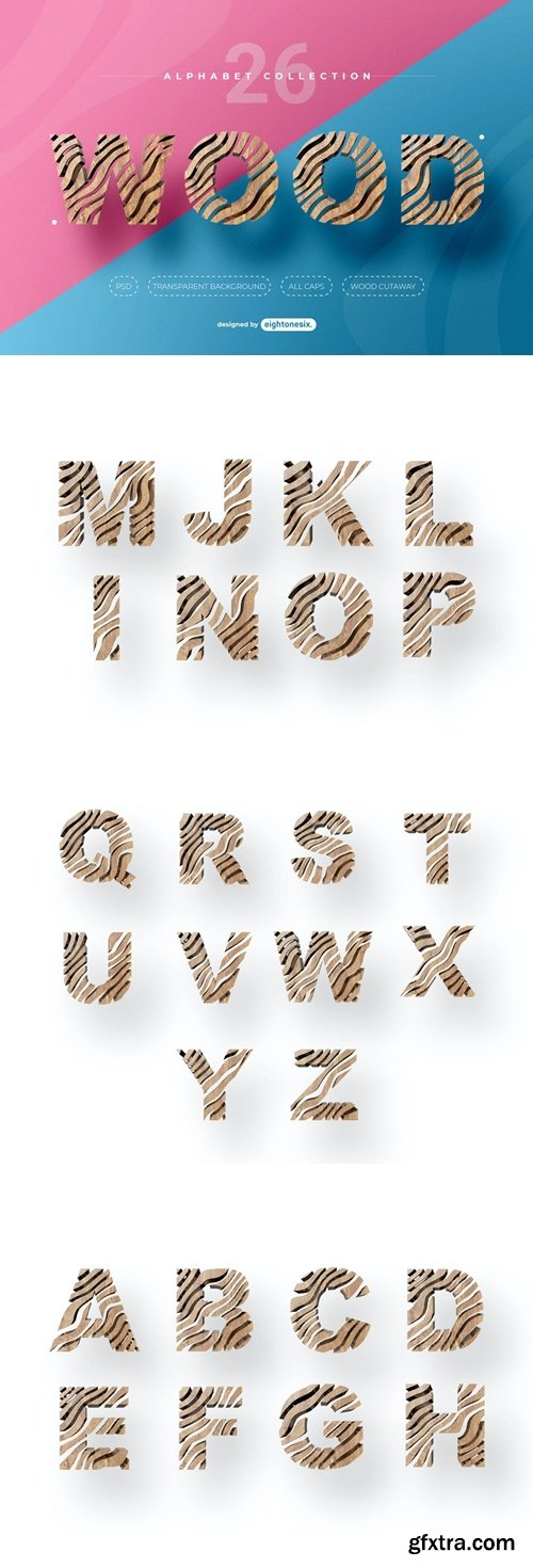 Abstract Wood Alphabet Letters