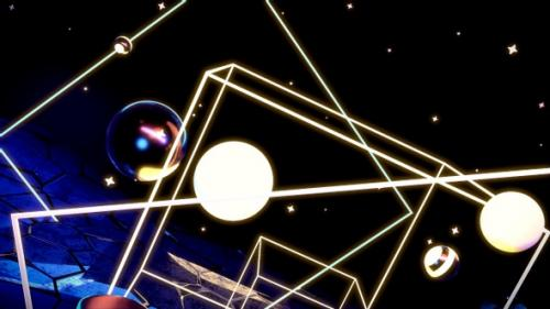 Videohive - Neon Floating Spheres and Cubes - 32971877 - 32971877