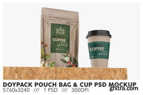 Doypack Pouch Bag With Paper Cup PSD Mockup