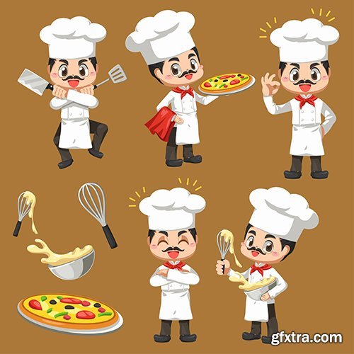 Chef man making bakery cartoon character illustrations