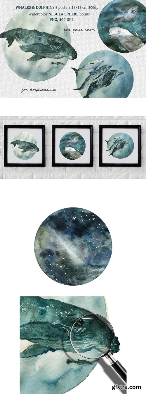 CreativeMarket - Watercolor Dolphins & Whales poster 5671189