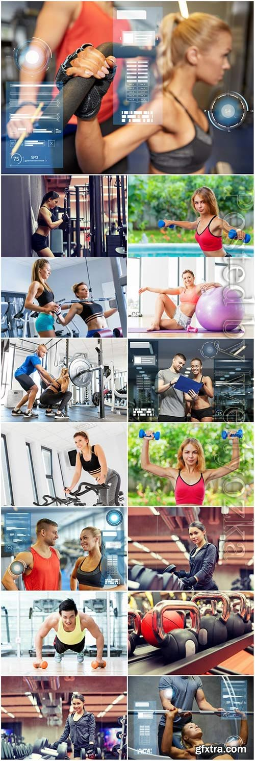 People in the gym stock photo