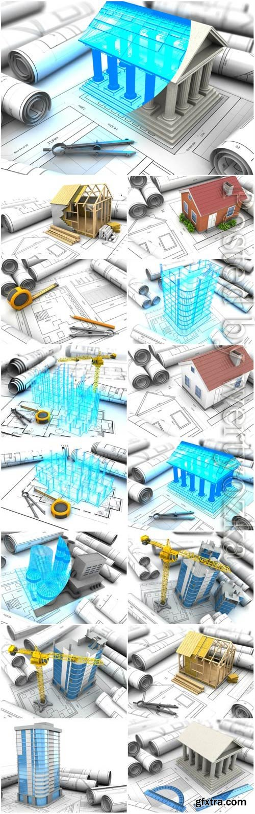 Architecture and construction drawings stock photo