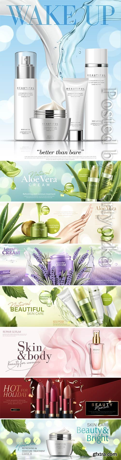 Cosmetic skincare products vector banner