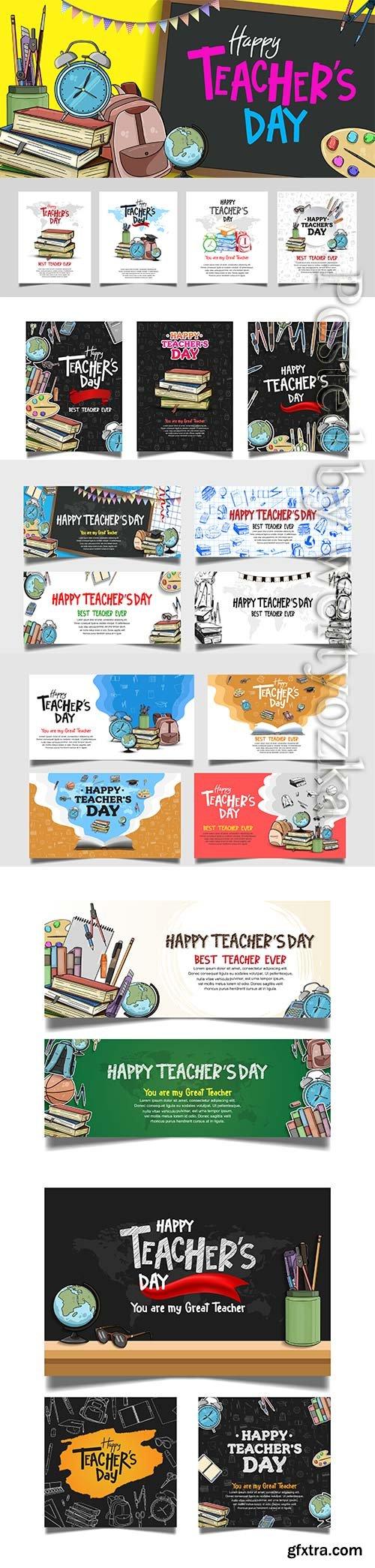 Happy teachers day vector banner