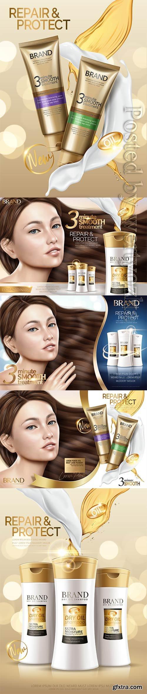 Glamour hair treatment vector ad