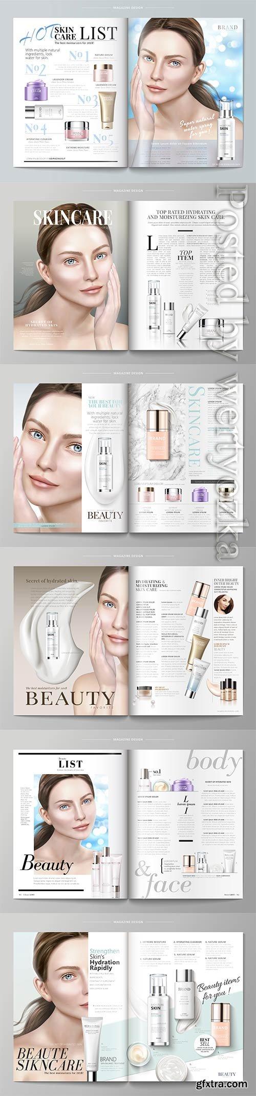 Elegant skin care magazine vector template