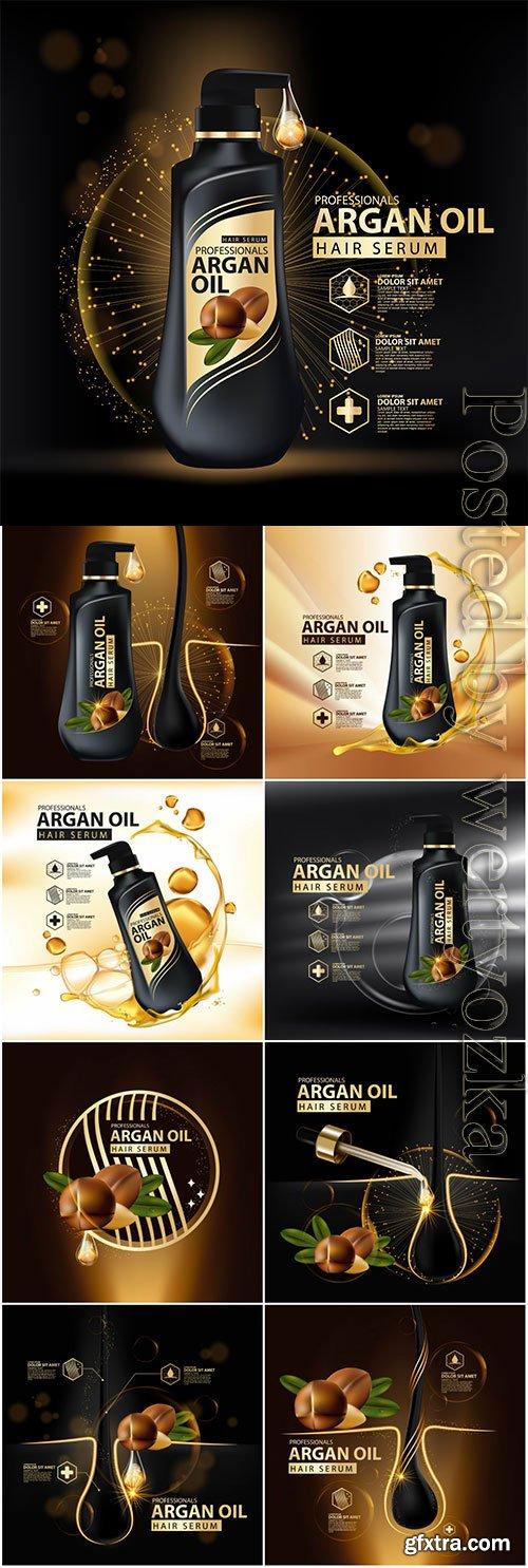 Argan oil hair serum posters in vector