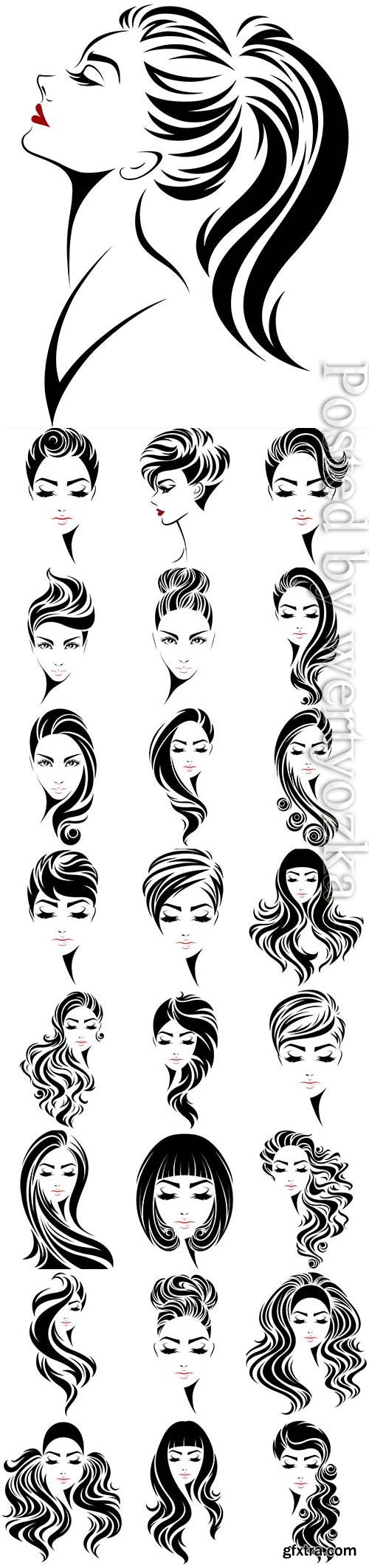 Drawn faces of girls with different hairstyles in vector
