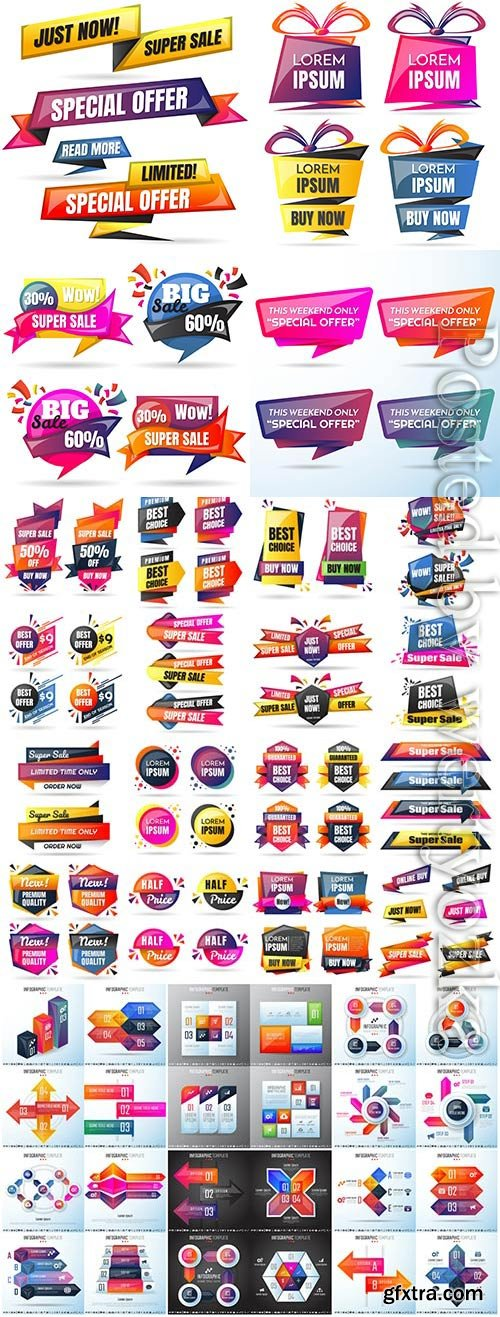Colored elements, infographics in vector