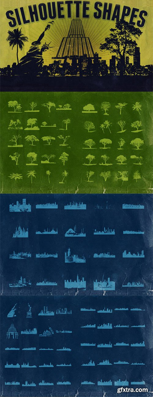 40 Trees & 60 Town Vector Silhouette Shapes Collection
