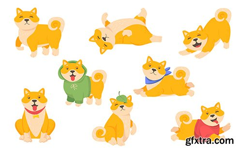 Funny akita puppy set