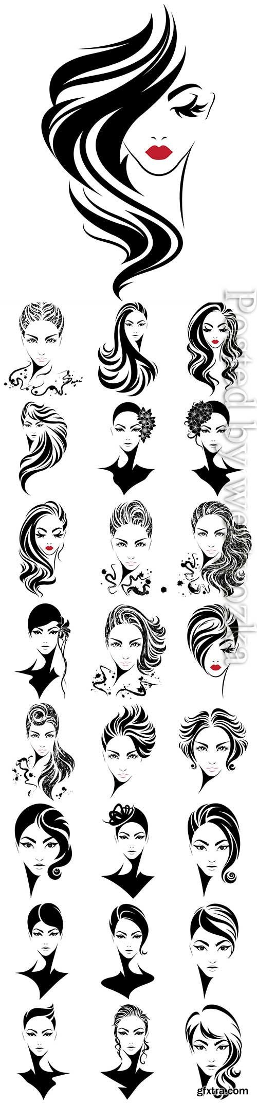 Girls with different hairstyles in vector