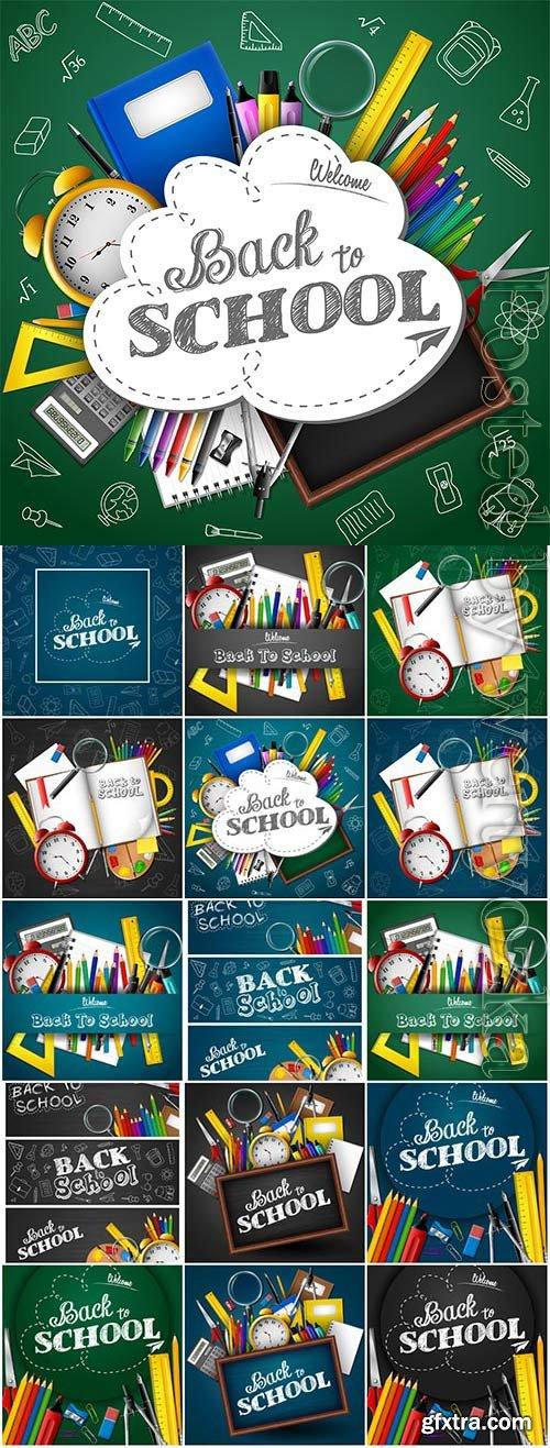 Back to school, school board and school elements in vector