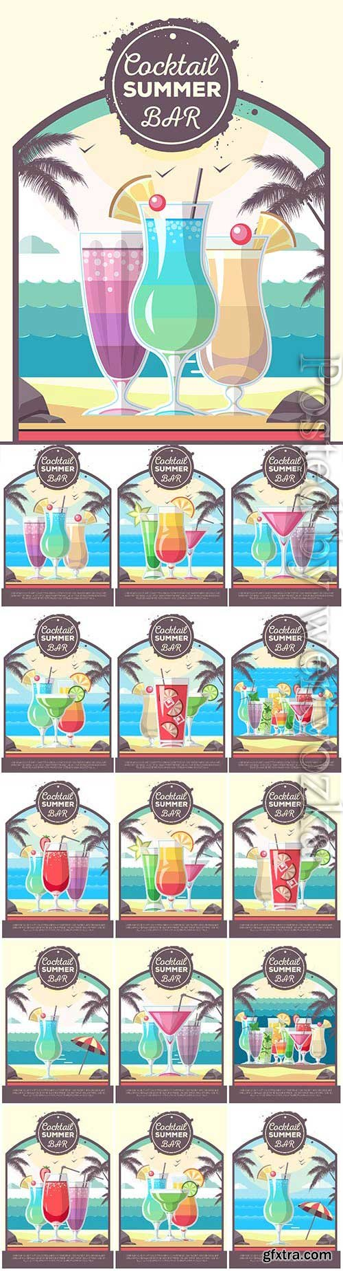 Cocktails, menu for bar and restaurant in vector