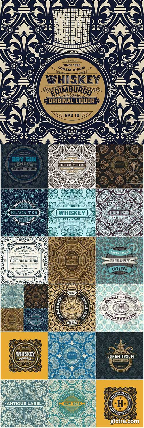 Vintage whiskey labels in vector