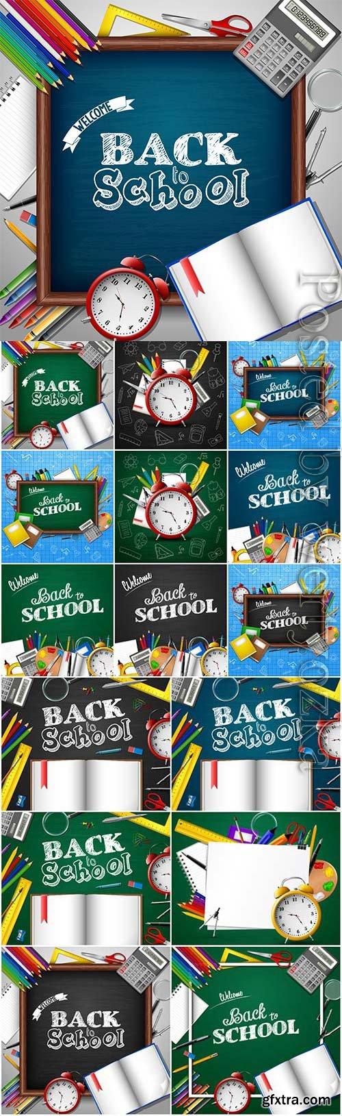 Back to school, school elementsin vector