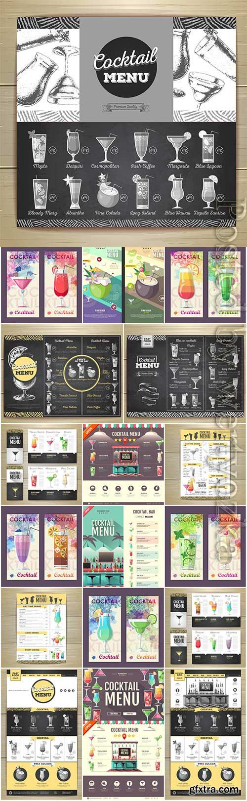 Cocktails menu for the bar in vector
