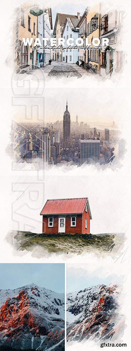 CreativeMarket - Watercolor and Sketch Photo Effect 5936324