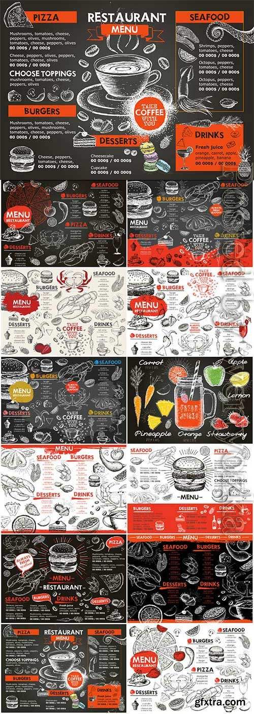 Vintage drawn menu for cafe and restaurant in vector