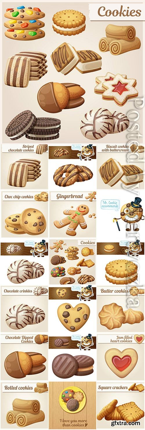 Cookies and miscellaneous pastries in vector