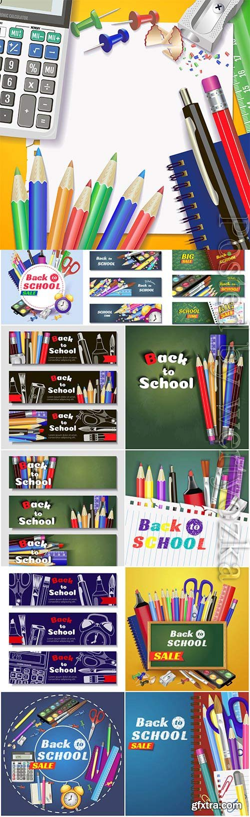 School banners and backgrounds in vector