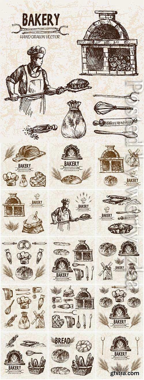 Baking bread drawn illustration in vector