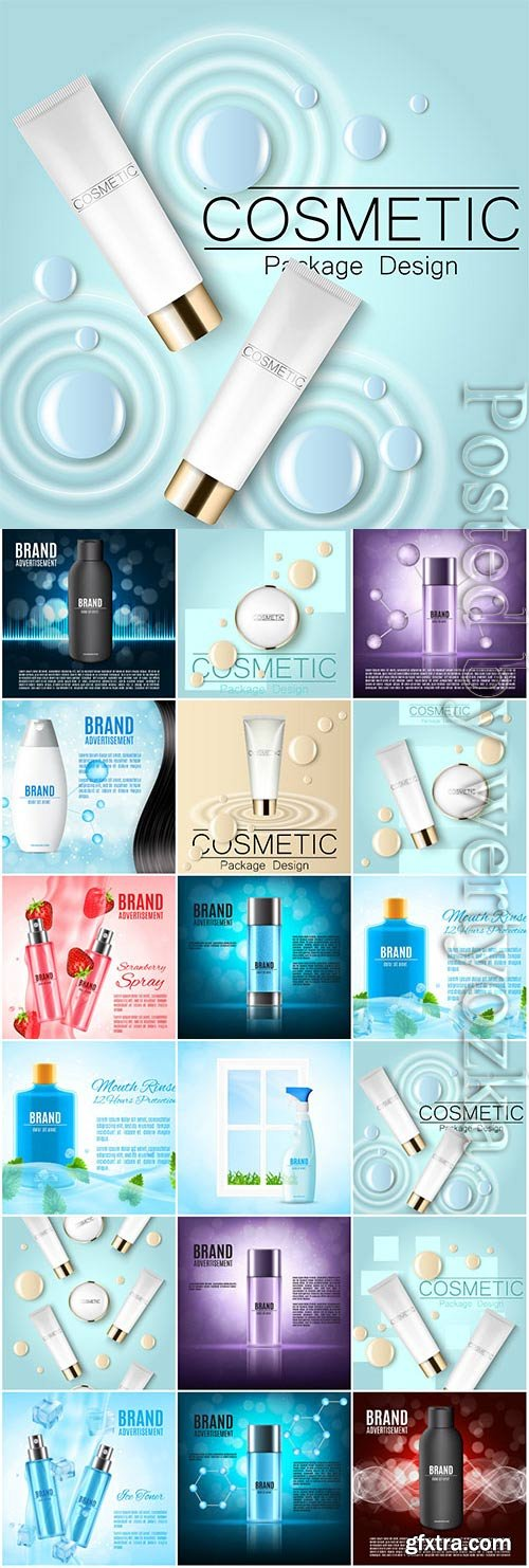Cosmetic package design in vector