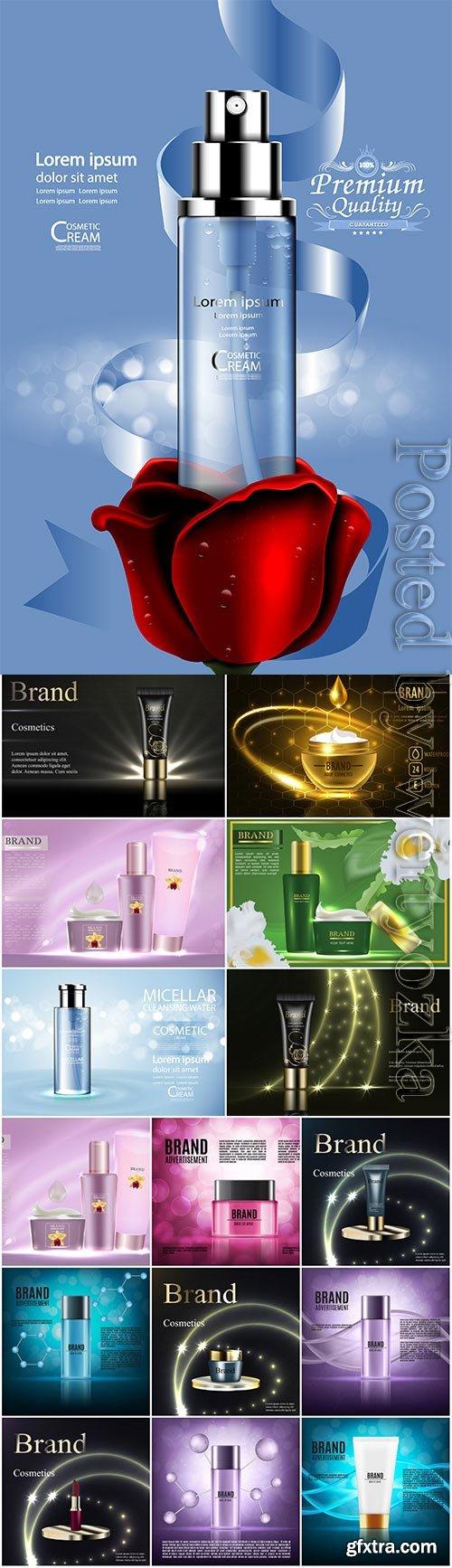 Elegant cosmetic advertising posters in vector