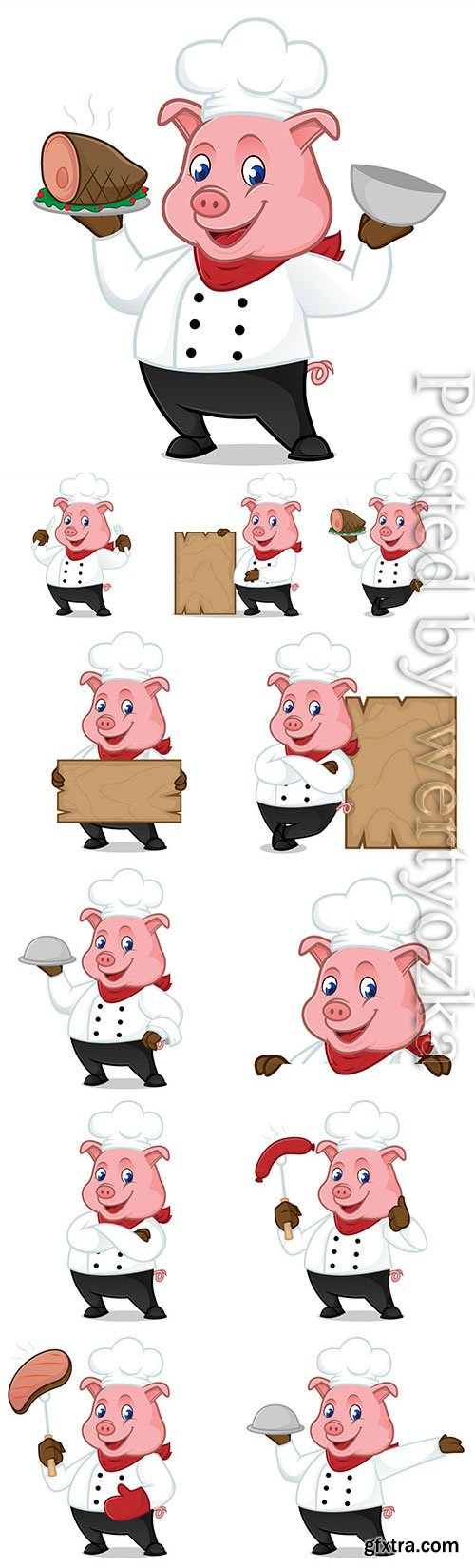 Cartoon pig in a chef costume in vector
