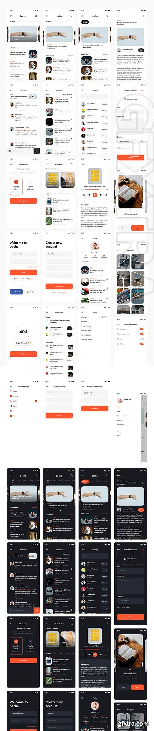 Bacha - News App UI Kit