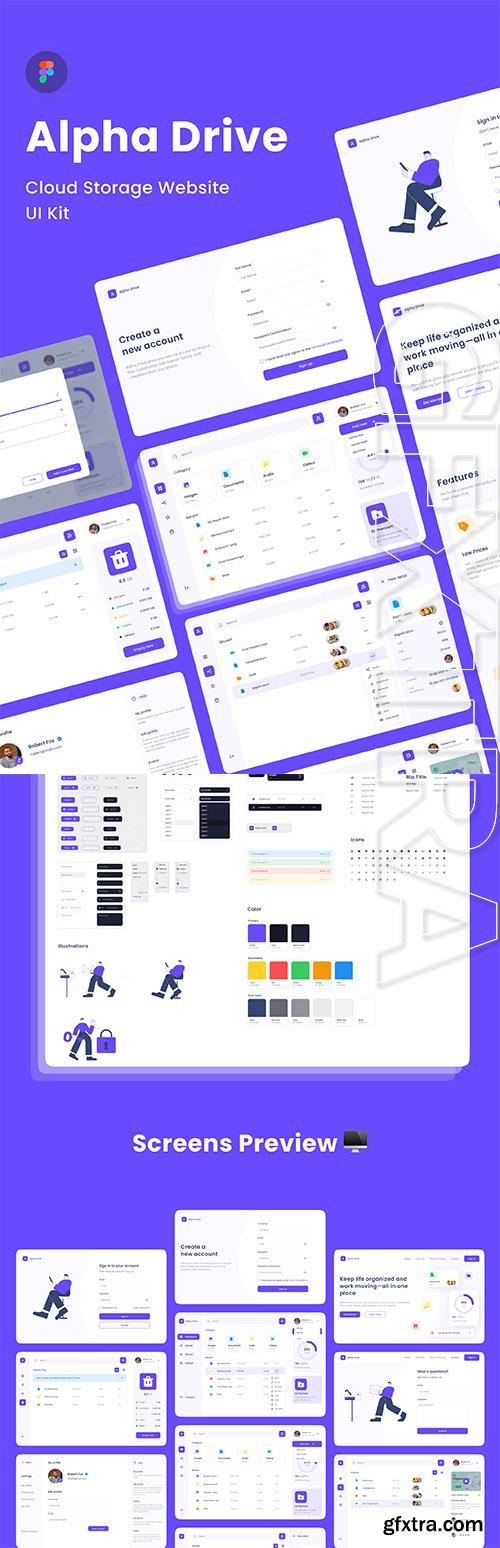 Alpha Drive Cloud Storage Website UI Kit