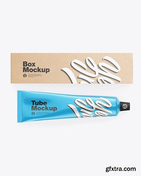 Kraft Box w/ Glossy Metallic Cosmetic Tube mockup 83579