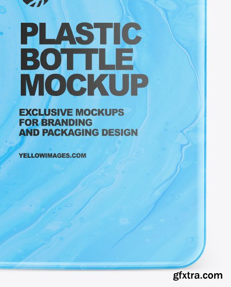 Plastic Square Bottle with Pump Mockup 86532