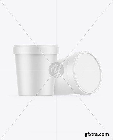 Two Matte Ice Cream Cups Mockup 86535