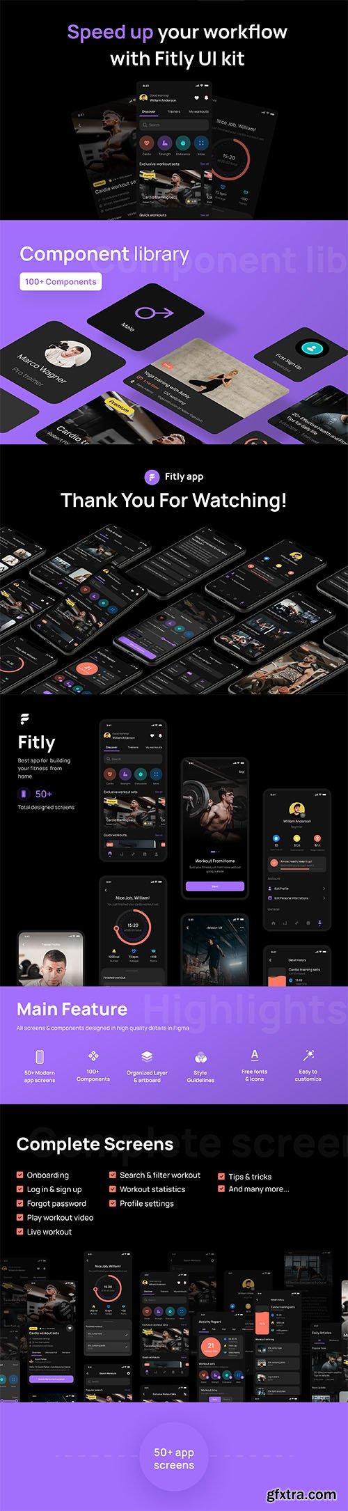 Fitly App - Modern Fitness App UI Design Kit