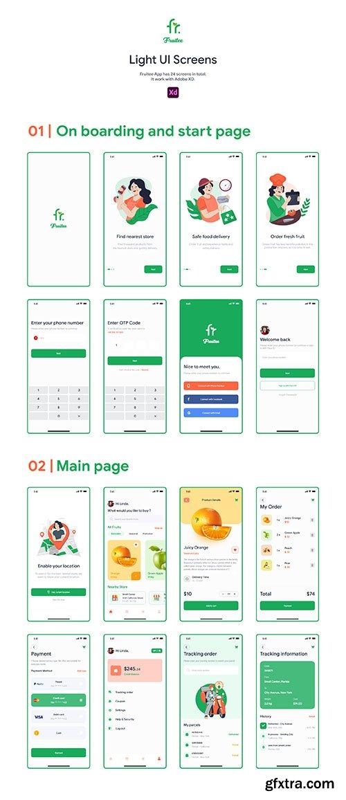 Fruitee - Fresh Fruit Shopping App UI Kit