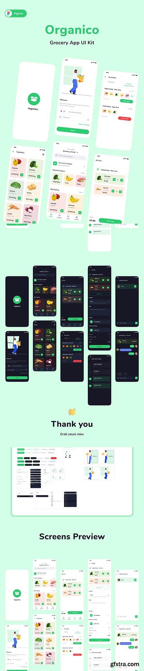 Organico Grocery App UI KIT