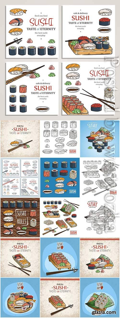 Sushi sets drawn in vector