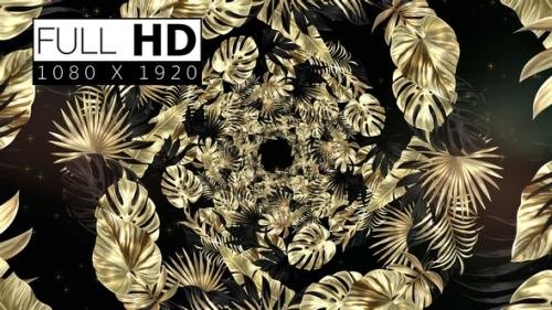 Videohive - Black And Golden Tropical Leaves Background 04 - 33225349 - 33225349