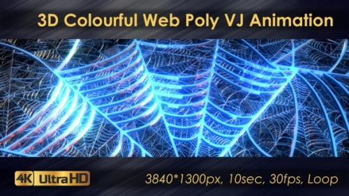 Videohive - 3D Colourful Web Poly VJ Animation - 33225769 - 33225769