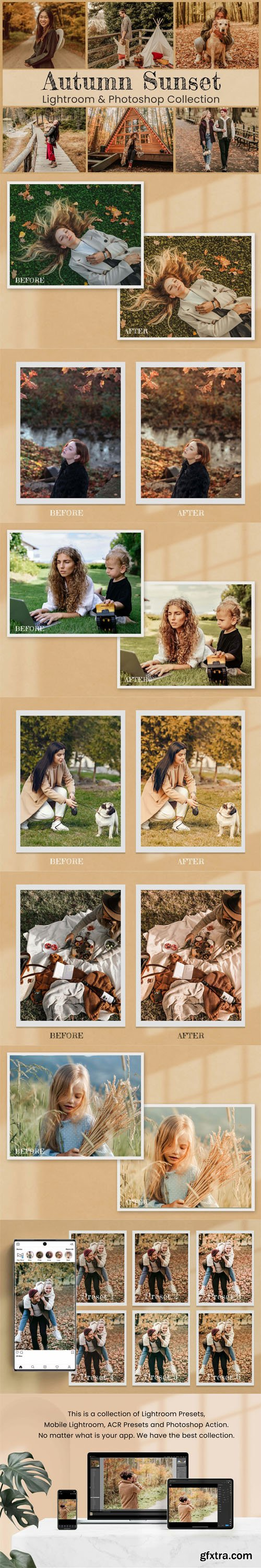 Autumn Sunset Photography Lightroom & Photoshop Presets Collection [Mobile & Desktop]